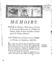 [Factum. Les prieur, procureur, syndic et chanoines réguliers de l'Abbaye de Lesterp.1785]