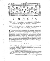 [Factum. Blanquet, Jean-Baptiste. 1780]