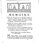 [Factum. Bagès, Jean-Nazaire. 1781]