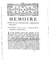 [Factum. Feuillant. 1787]
