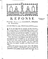 [Factum. Sauret, Gervais. 1787]