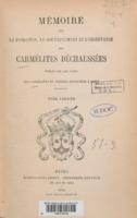 Mémoire sur la fondation, le gouvernement et l'observance des Carmélites Déchaussées
