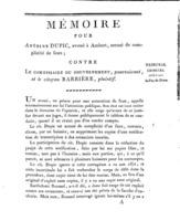 [Factum. Dupic, Antoine. An 11]