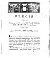 [Factum.  Esparvier d'Estresses, Joseph. An 10?]