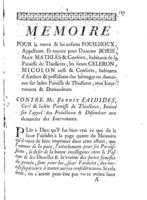 [Factum. Fouilhoux, veuve et enfants. 1774]