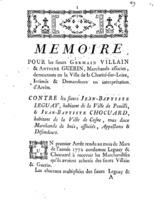 [Factum. Villain, Germain. 1774]