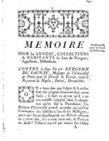 [Factum. Syndic, collecteurs et habitants du lieu de Nériguet. 1774]