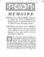 [Factum. Chalambel, Jean. 1774]