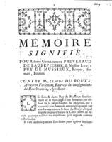 [Factum. Préveraud de Laubépierre, Guillelmine. 1774]