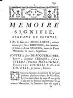 [Factum. Mercadier, Géraud. 1773]