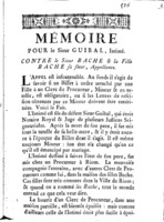 [Factum. Guibal. 1774]