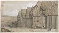 Route et Entrée de St Flour – Basaltes en colonnes régulières, produits volcaniques [légende manuscrite]
